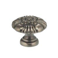 "Omnia Industries - Ornate Knobs & Pulls - 1 3/8"" Floral Center Knob Pewter"