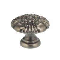 "Omnia Industries - Ornate Knobs & Pulls - 1 5/8"" Floral Center Knob Pewter"