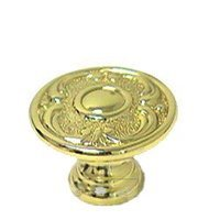 """Omnia Industries - Ornate Knobs & Pulls - 1 1/8"""" Circle and Scroll Knob Polished Brass Lacquered"""