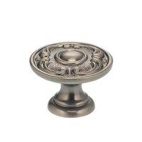"Omnia Industries - Ornate Knobs & Pulls - 1 1/8"" Circle and Scroll Knob Pewter"