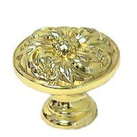 """Omnia Industries - Ornate Knobs & Pulls - 1 3/8"""" Flower Knob Polished and Lacquered Brass"""