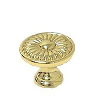 """Omnia Industries - Ornate Knobs & Pulls - 1"""" Daisy Knob Polished Brass Lacquered"""
