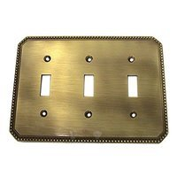 Omnia Industries - Switchplates - Beaded Triple Toggle Switchplate in Shaded Bronze Lacquered