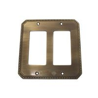 Omnia Industries - Switchplates - Beaded Double Rocker Cutout Switchplate in Shaded Bronze