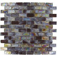 Onix Mosaico Glass Tiles - GeoGlass Series - Iridescent Grey/Black Bricks