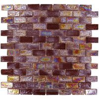 Onix Mosaico Glass Tiles - GeoGlass Series - Iridescent Brown Bricks