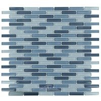 "Optimal Tile - Glass Stick Tile - 3/8"" x 1 7/8"" Slim Glass Mosaic in Sky Blue Blend"