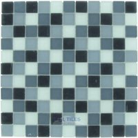 "Optimal Tile - Square Glass Tile - 1"" x 1"" Matte Glass Mosaic in Midnight Blend Frosted"