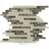 Optimal Tile - Glass and Stone Tile - Random Linear Glass and Emperador Dark Stone Mosaic in Desert Earth