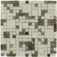 Optimal Tile - Versailles Tile - Versailles Glass and Emperador Stone Mosaic in Earth