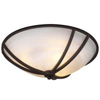 "PLC Lighting - Contemporary Ceiling Lights - CFL 21"" Flush Ceiling Light in Oil Rubbed Bronze with Marbleized Glass"