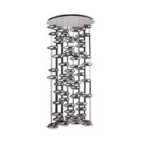 "PLC Lighting - Contemporary Chandeliers - 46"" Chandelier in Polished Chrome with Silvered Glass Glass"