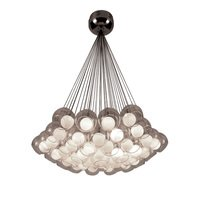 "PLC Lighting - Contemporary Chandeliers - 32"" Chandelier in Satin Nickel with Inner Opal and Outer Clear Glass"