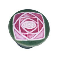 "Acorn MFG - Porcelain - 1 5/8"" Small Round Green With Sq Mauve Rose Knob in Porcelain"
