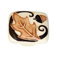 "Acorn MFG - Porcelain - 2"" Large Square Brown Leaf With Acorn Knob in Porcelain"