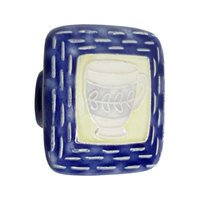 "Acorn MFG - Porcelain - 2"" Large Square Blue & Yellow With Teacup Knob in Porcelain"