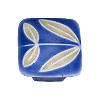 "Acorn MFG - Porcelain - 1 1/4"" Small Square Dark Blue With Leaves No Berries Knob in Porcelain"