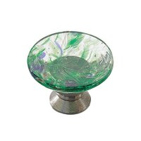 "Richelieu Hardware - Contemporary Inspiration VIII - 1 3/16"" Diameter Element Knob in Chrome and Harlequin Green Murano Glass"