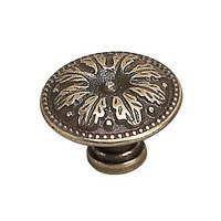 "Richelieu Hardware - Styles Inspiration XII - Solid Brass 1"" Diameter Leaf Embossed Knob in Burnished Brass"