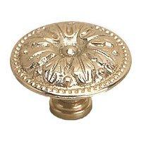 "Richelieu Hardware - Styles Inspiration XII - Solid Brass 1 3/8"" Diameter Leaf Embossed Knob in Brass"