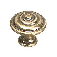 "Richelieu Hardware - Styles Inspiration X - Solid Brass 1"" Diameter Bordeaux Knob in Burnished Brass"