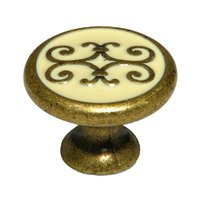 "Richelieu Hardware - Styles Inspiration XX - Solid Brass with Enamel 1 3/16"" Diameter Filigree Knob in Florence"
