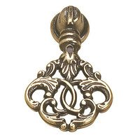 "Richelieu Hardware - Styles Inspiration XI - Solid Brass 1 5/16"" Long Intertwined Fronds Inspired Pendant Pull in Burnished Brass"