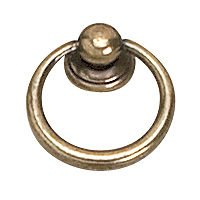 "Richelieu Hardware - Styles Inspiration XVIII - Solid Brass 1 1/4"" Diameter Round Ring Pull in Burnished Brass"