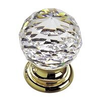 "Richelieu Hardware - Contemporary Inspiration VIII - Solid Brass 1 3/16"" Diameter Beveled Knob in Brass and Clear Crystal"