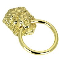 "Richelieu Hardware - Village Expression IV - 1 1/2"" Diameter Lion Face Ring Pull in Brass"