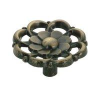 """Richelieu Hardware - Village Expression IV - 1 1/2"""" Diameter Concave Flower Knob in Burnished Brass"""