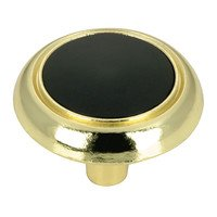 "Richelieu Hardware - Country Style Expression I - 1 1/4"" Diameter Knob with Ceramic Insert in Brass and Black"