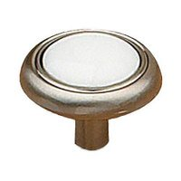 "Richelieu Hardware - Country Style Expression II - 1 1/4"" Diameter Knob with Ceramic Inlay in Brushed Nickel and White"