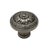 "Richelieu Hardware - Classic Expression III - 1 1/4"" Diameter Knob with Twig and Cross-tie Detail in Pewter"