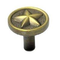 RK International - Antique English - Rugged Texas Star Knob in Antique English