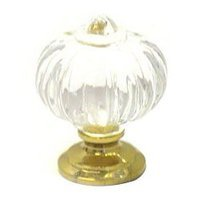 RK International - Acrylic and Glass - Acrylic Flower Knob in Polished Brass