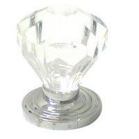 RK International - Acrylic and Glass - Acrylic Diamond Cut Knob in Polished Chrome