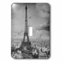 Jazzy Wallplates - Scenic - Single Toggle Wallplate With Eiffel Tower Paris France 1889 Black And White
