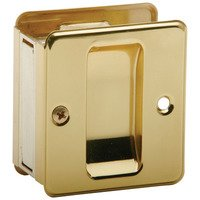 Schlage Door Hardware - Ives Pocket Door Hardware - Solid Brass Passage Pocket Door Lock in Bright Brass