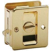 Schlage Door Hardware - Ives Pocket Door Hardware - Aluminum Privacy Pocket Door Lock in Bright Brass