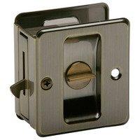 Schlage Door Hardware - Ives Pocket Door Hardware - Aluminum Privacy Pocket Door Lock in Antique Brass