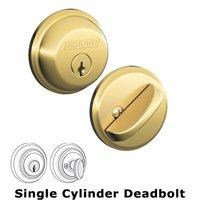Schlage Door Hardware - Deadbolts - B60 Series - Single Deadbolt in Lifetime Bright Brass