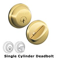 Schlage Door Hardware - Deadbolts - B60 Series - Single Deadbolt in Bright Brass
