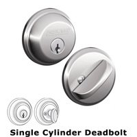 Schlage Door Hardware - Deadbolts - B60 Series - Single Deadbolt in Bright Chrome