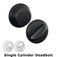Schlage Door Hardware - Deadbolts - B60 Series - Single Deadbolt in Aged Bronze