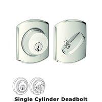 Schlage Door Hardware - Deadbolts - B60 Series - Greenwich Single Cylinder Deadbolt in Bright Nickel