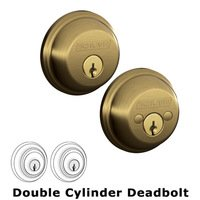 Schlage Door Hardware - Deadbolts - B62 Series - Double Deadbolt in Antique Brass