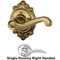 Schlage Door Hardware - Brookshire - F170 Series - Right Handed Single Dummy Flair Door Lever with Brookshire Rose in Antique Brass
