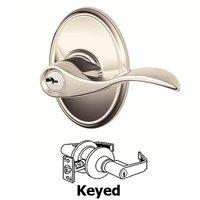 Schlage Door Hardware - Wakefield - F Series - Accent With Wakefield Rose Keyed Door Lever in Bright Nickel