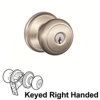 Schlage Door Hardware - Champagne Door Levers - F Series - Andover Champagne Keyed Right Handed Door Lever in Satin Nickel